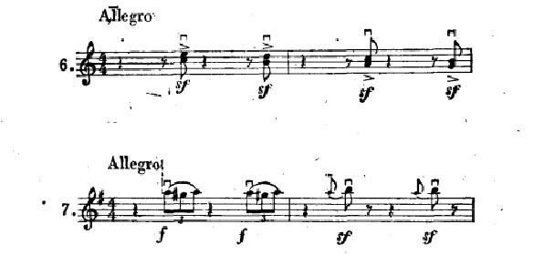 乐谱中的小提琴弓法